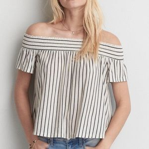 AEO White Striped Off The Shoulder Flared Top